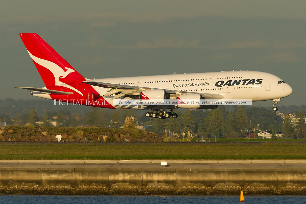 "QF6024 arrives in Sydney. This A380 flew from Toulouse (Blagnac) to Sydney via Singapore. This brand new plane is named ""Bert Hinkler"", after the pioneering Australian aviator."