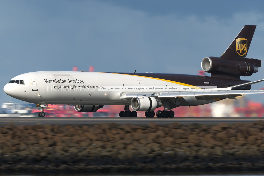 A UPS McDonnell-Douglas MD-11 lands at Sydney airport.
