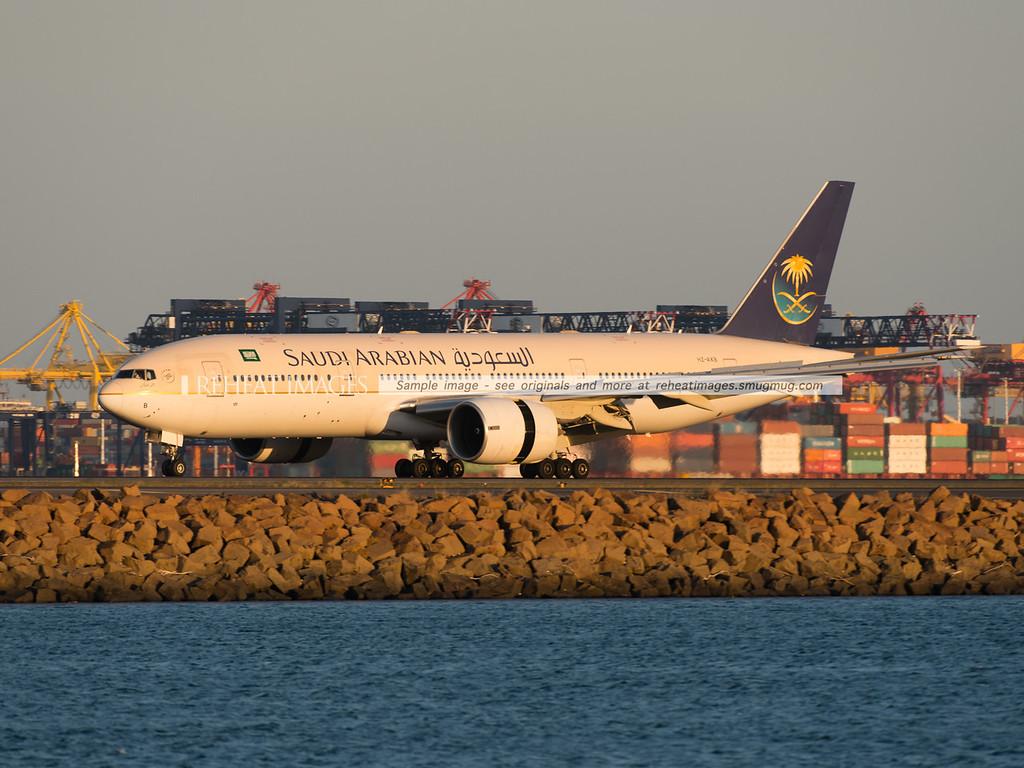 Saudi Arabian Airlines Boeing 777-268ER HZ-AKB arrives in Sydney