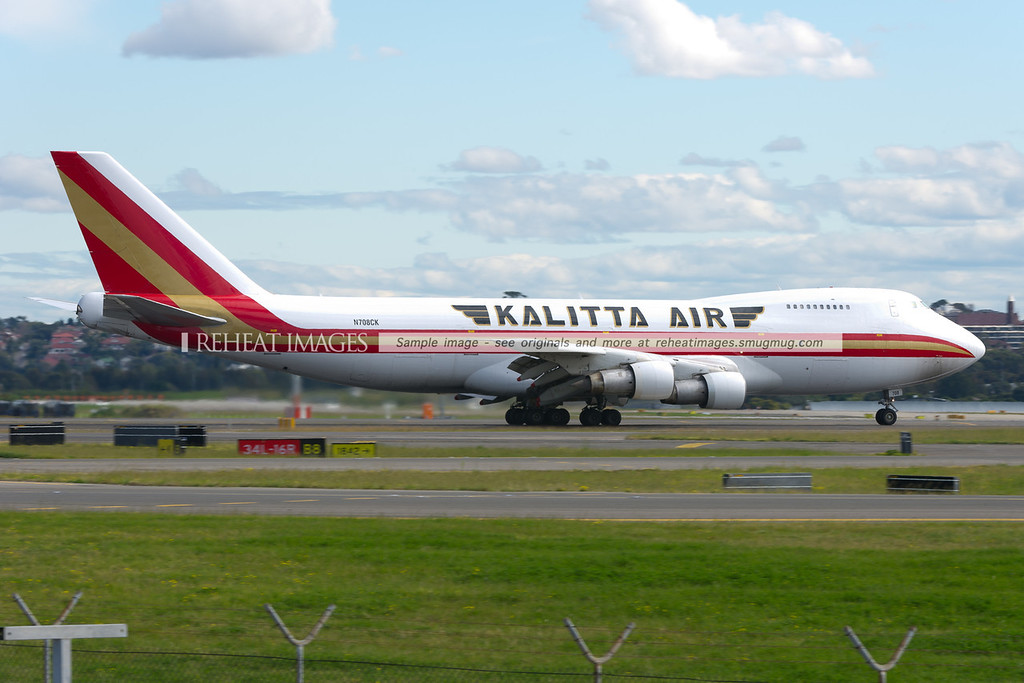A Connie (Kalitta) Boeing 747-212BF arrives at Sydney airport. This Pratt & Whitney engined classic B747 is a relatively unusual sight in Sydney. This plane first flew in 1980 and was originally delivered to Singapore Airlines as 9V-SQL.