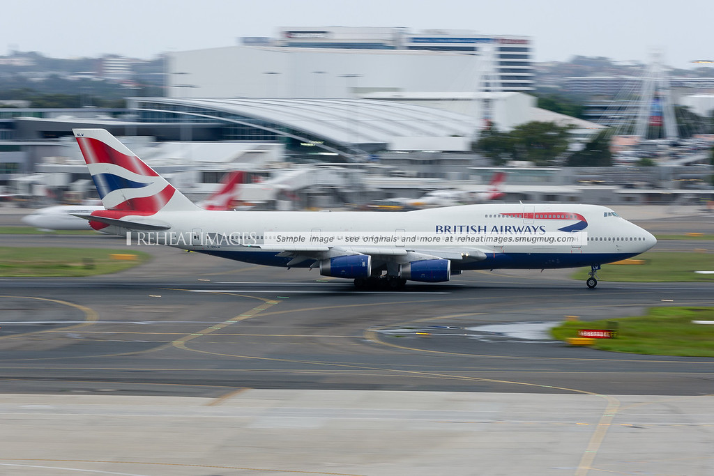 A British Airways B747-436 takes off from Sydney airport.