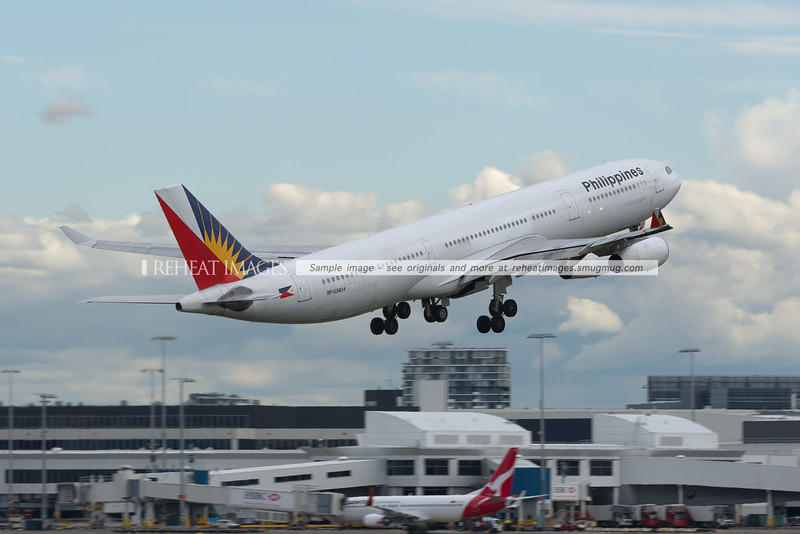 A Philippine Airlines Airbus A340-300 departs Sydney airport.