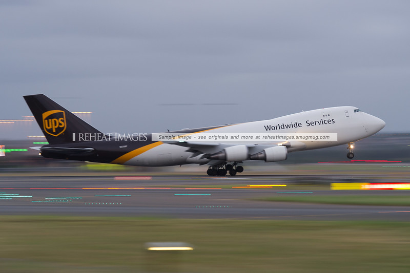 UPS Boeing 747-400F at Sydney airport, dusk takeoff