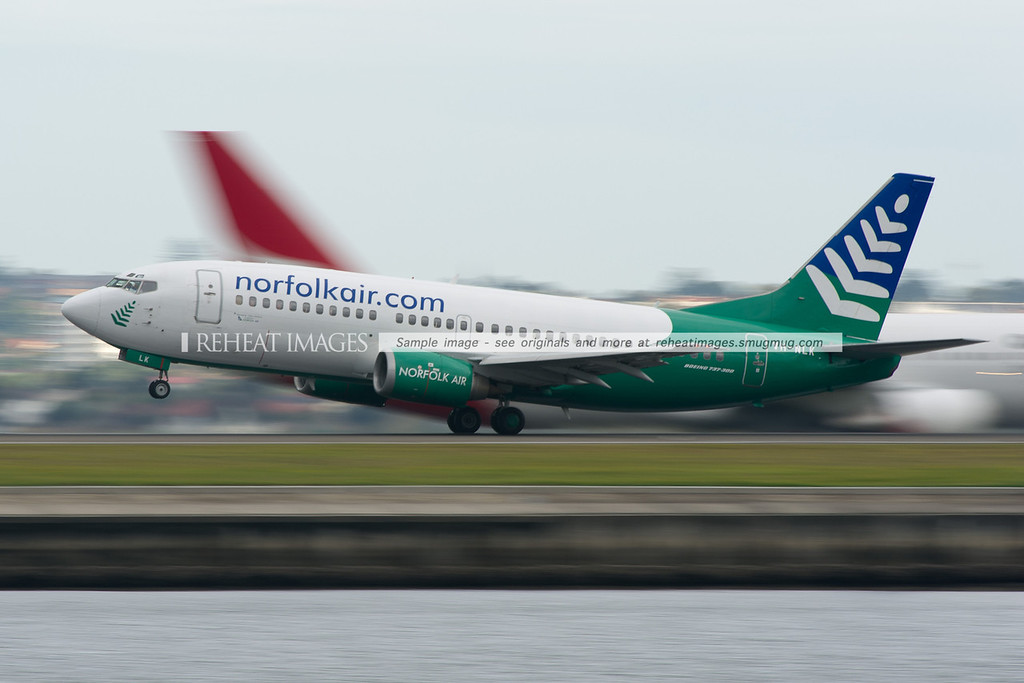 Norfolk Air Boeing 737-300 takes off from Sydney Airport.