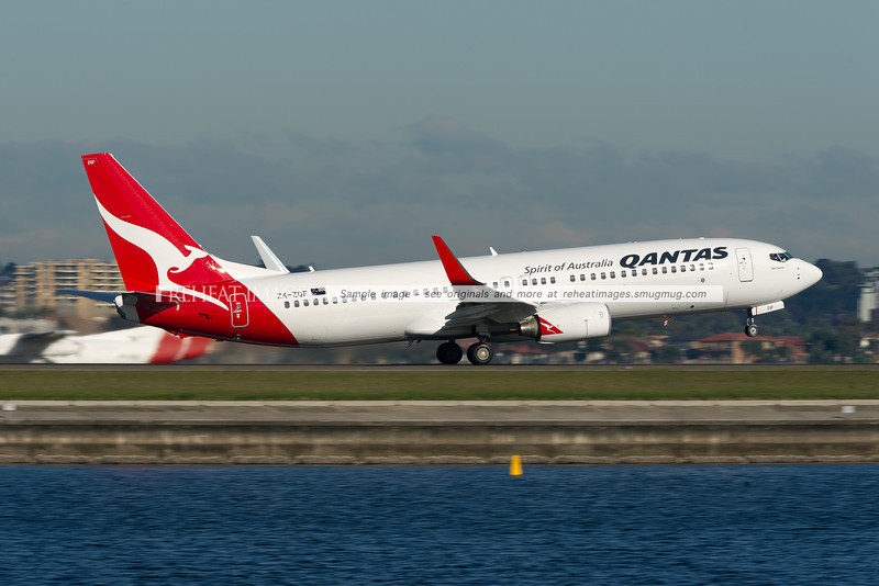 "A Qantas (Jetconnect) Boeing 737-838 takes off from Sydney airport runway 34 right. This plane is named ""Abel Tasman""."