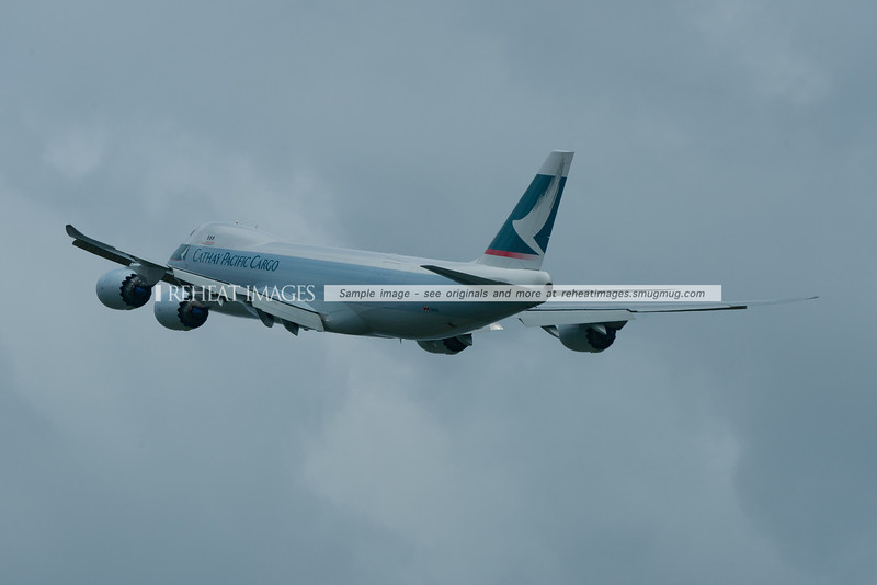 Cathay Pacific B747-867F B-LJE takes off from Sydney Airport headed to Melbourne.