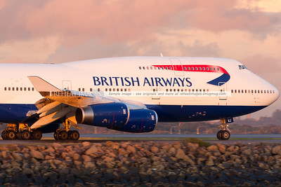A British Airways B747-436 taxis out to runway 34 left at Sydney airport.