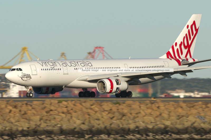 Virgin Australia Airbus A330 lands at Sydney airport.