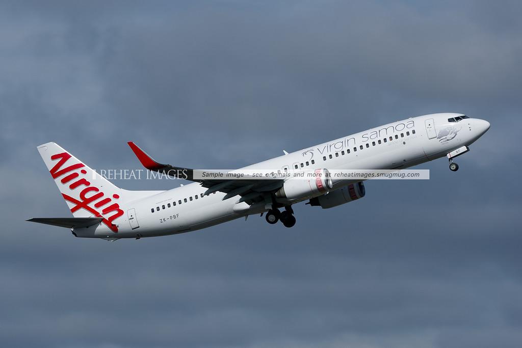 Virgin Samoa Boeing 737-800 leaves Sydney airport.