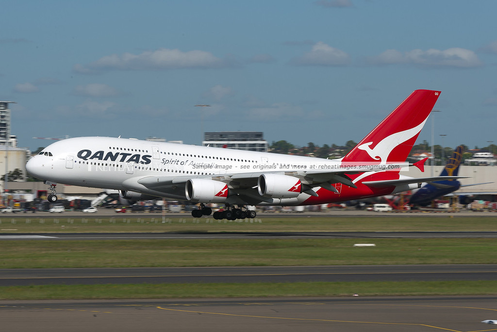 Qantas Airbus A380 lands at Sydney airport