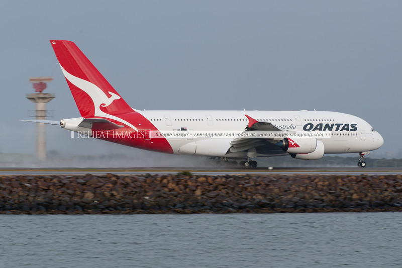 Qantas Airbus A380-842 VH-OQA 'Nancy-Bird Walton' takes off from Sydney airport in rainy conditions. This plane has been out of service due to the QF32 engine dramas, but should return to service some time in 2012.