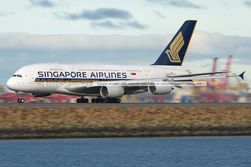 Singapore Airlines Airbus A380-841 leaves Sydney airport.