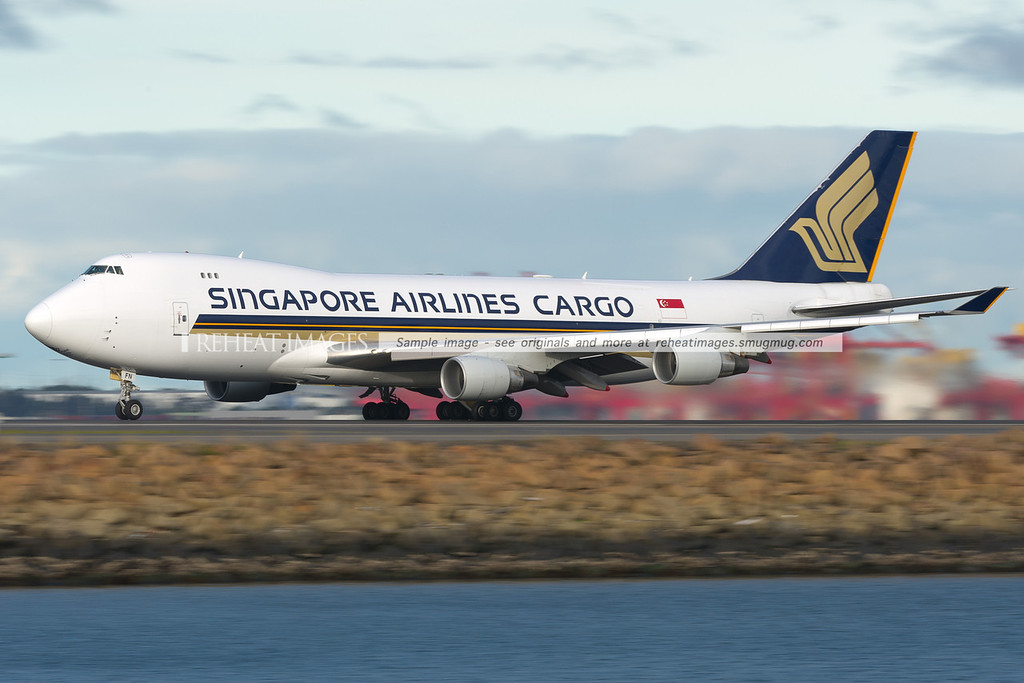 Singapore Airlines Cargo B747-412 Freighter leaves Sydney airport.