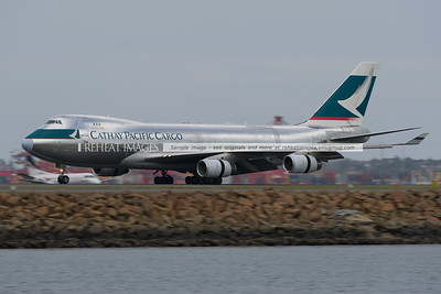 """Cathay Pacific Cargo's """"silver-bullet"""" B747-400F arrives in Sydney as CX021.This one is dubbed silver bullet due to its polished metal finish."""