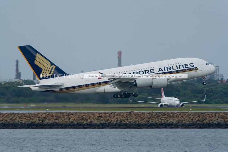 Singapore Airlines Airbus A380-841 takes off from Sydney airport.