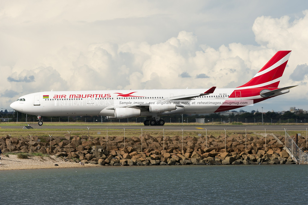 Air Mauritius A340-300 arrives in Sydney airport.