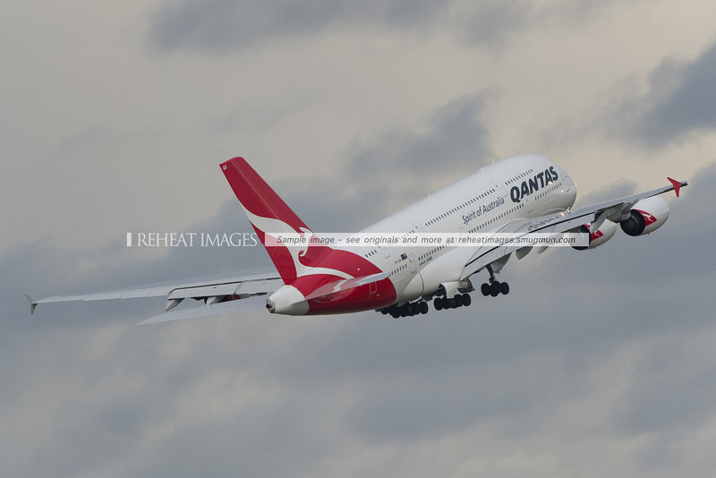 Qantas Airbus A380-842 leaving Sydney airport in poor weather.
