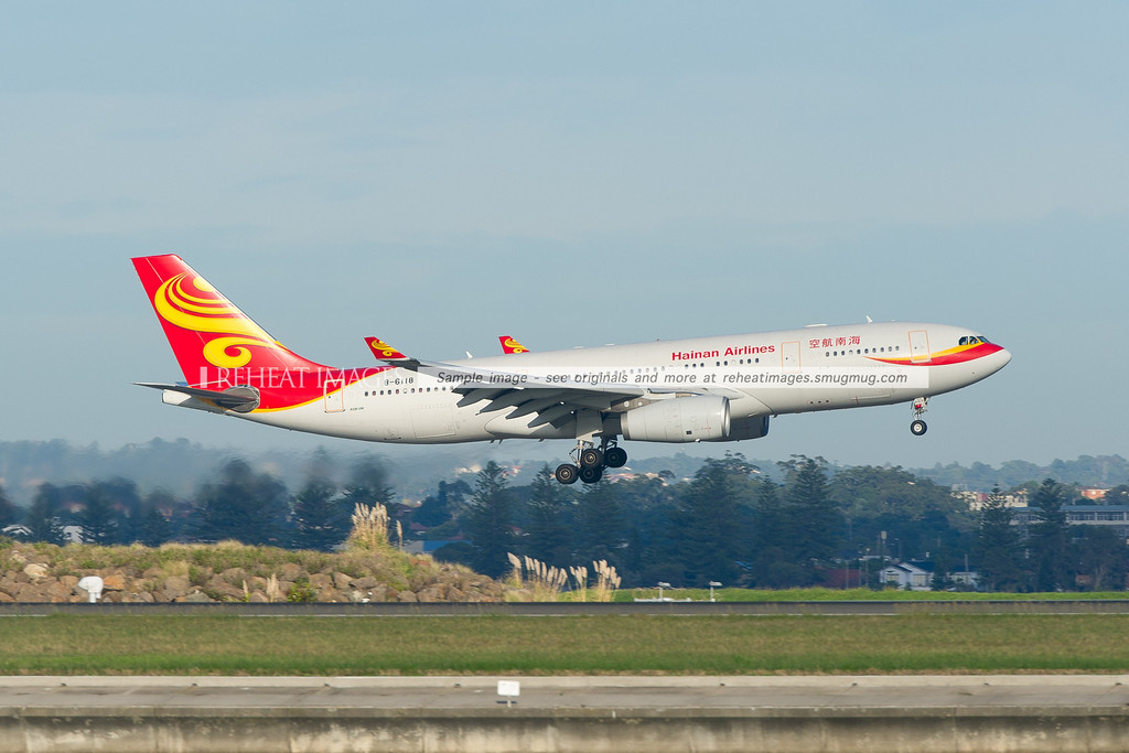 Hainan Airlines A330-243 is landing at Sydney airport runway 34 left.