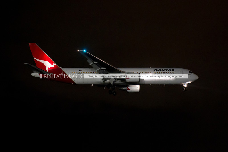 Qantas Boeing 767-338/ER VH-OGH on approach to land at Sydney airport. Photo by special request for a crew member on board this plane.