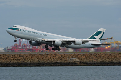 Cathay Pacific B747-867F B-LJF takes off from Sydney Airport operating flight CX024.