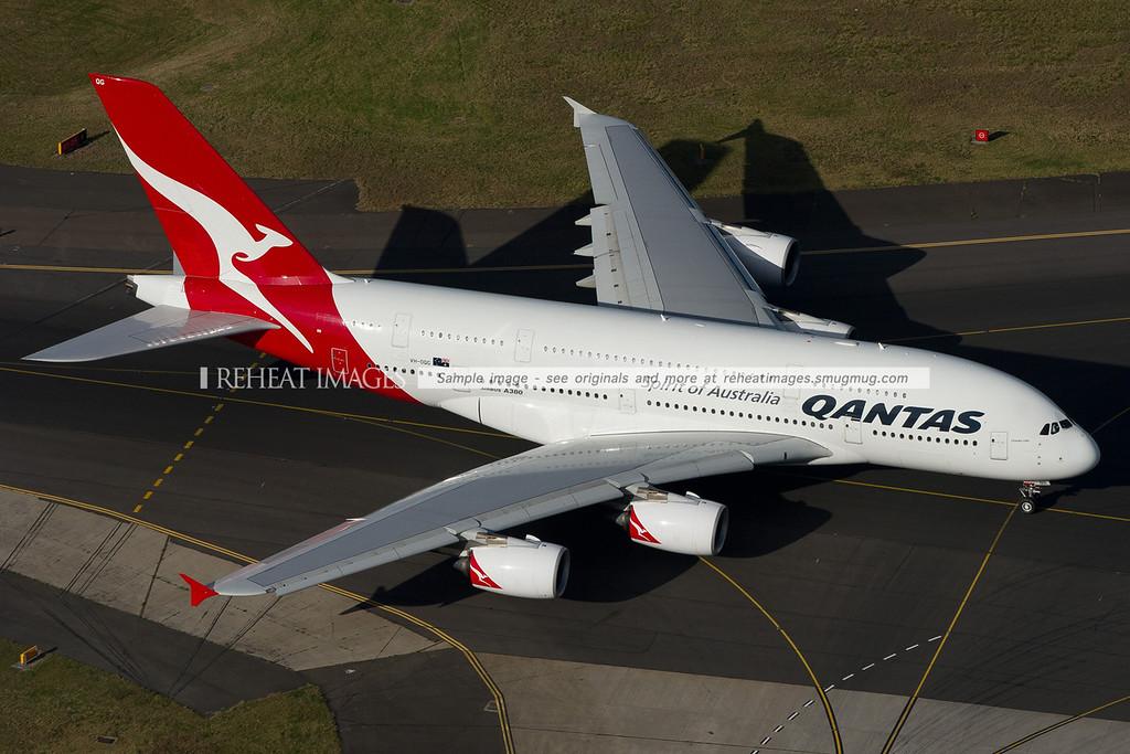Qantas A380-842 VH-OQG taxis along taxiway alpha