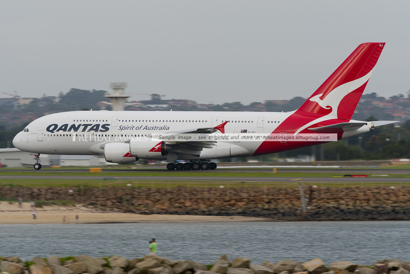 A Qantas A380-842 takes off from Sydney airport