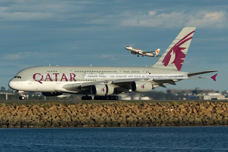 Qatar Airbus A380 landing at Sydney