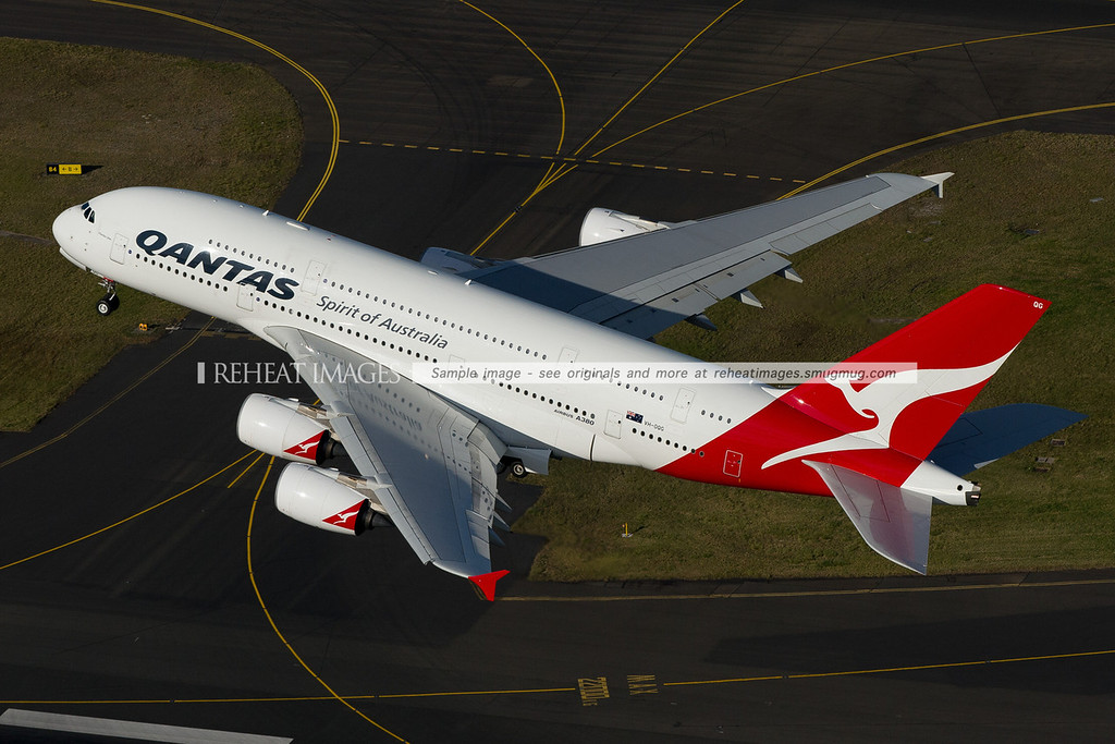 Qantas Airbus A380-842 VH-OQG aerial photo