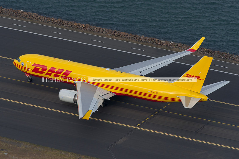 Polar Air Cargo DHL N644GT seen from the air at Sydney airport.