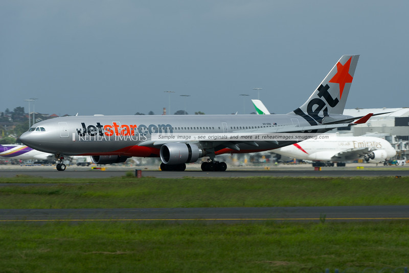 Jetstar A330-200 Airbus lands in Sydney airport.