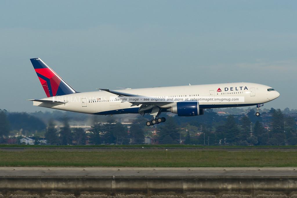Delta Airlines Boeing 777-200/LR is landing at Sydney airport runway 34 left.