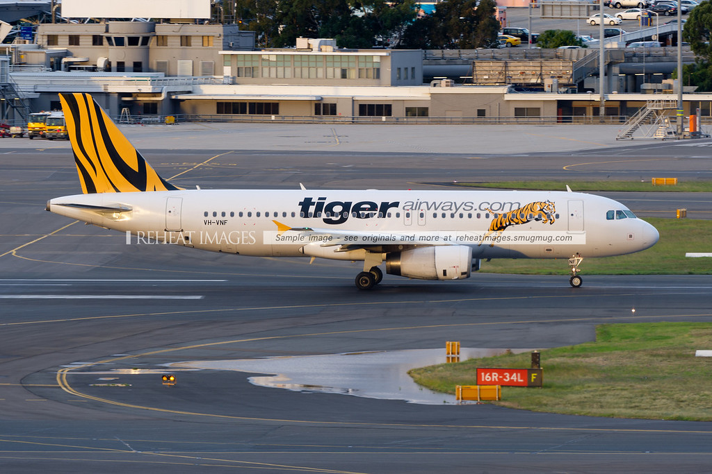 Tiger Airways Airbus A320 is ready to takeoff.