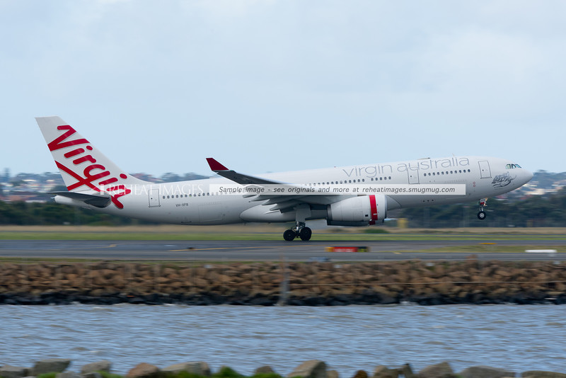 A Virgin Australia Airbus A330 takes off from runway 34 left at Sydney airport.