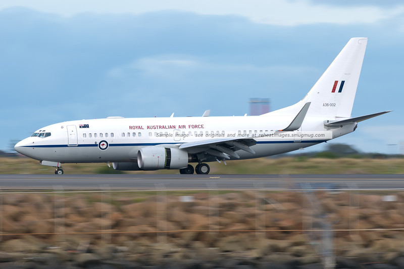 A Royal Australian Air Force Boeing B737-7DT Boeing Business Jet arrives at Sydney airport.