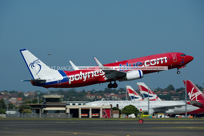 Polynesian Blue Boeing 737-800 takes off from Sydney airport.