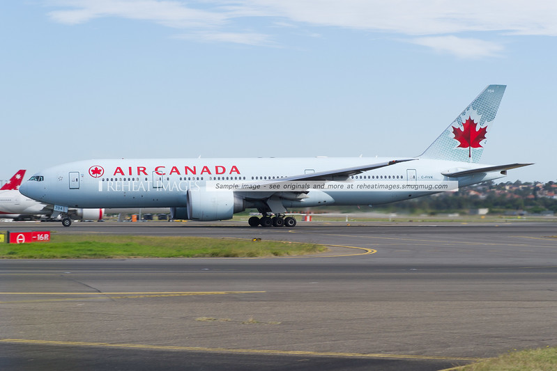 Air Canada Boeing 777-200LR departs Sydney airport
