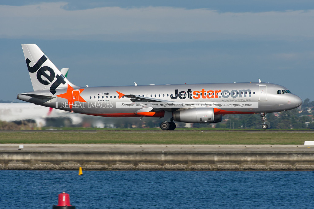 A Jetstar Airbus A320-200 leaves Sydney airport on runway 34 right.