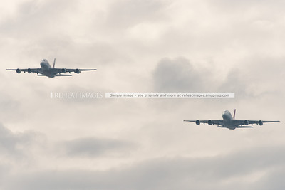 Qantas and Emirates begin their historic partnership with a flyover of Sydney Harbour on Sunday 31 March 2013. The flyover featured two A380s, one from each airliner.