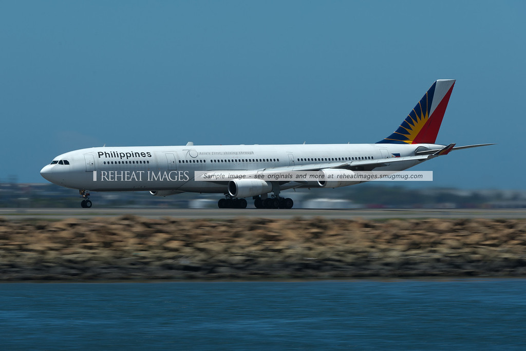 Philippines Airbus A340-300 takes off from Sydney airport.