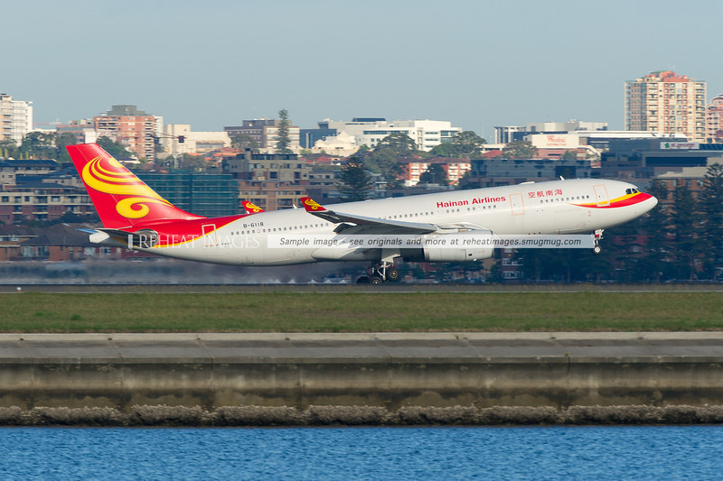 Hainan Airlines A330-243 is landing at Sydney airport runway 34 left against the backdrop of Brighton-Le-Sands.