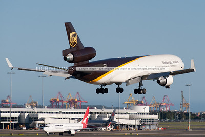 A UPS McDonnell-Douglas MD-11F lands at Sydney airport.
