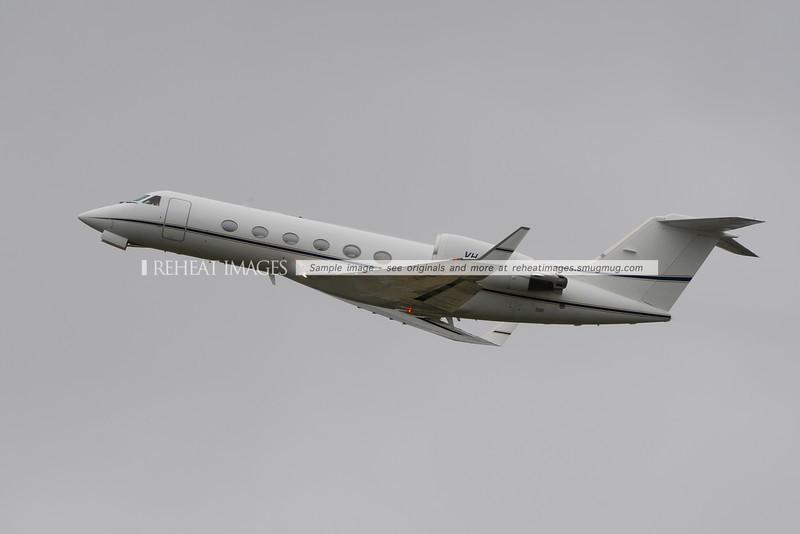 Gulfstream IV departs Sydney airport.