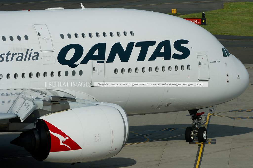 """Qantas Airbus A380-842 """"Hudson Fysh"""" heads out to runway 16 right at Sydney airport. Two of its four Rolls Royce Trent 972 engines are visible here."""