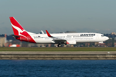 """A Qantas (Jetconnect) Boeing 737-838 takes off from Sydney airport runway 34 right. This plane is named """"Abel Tasman""""."""