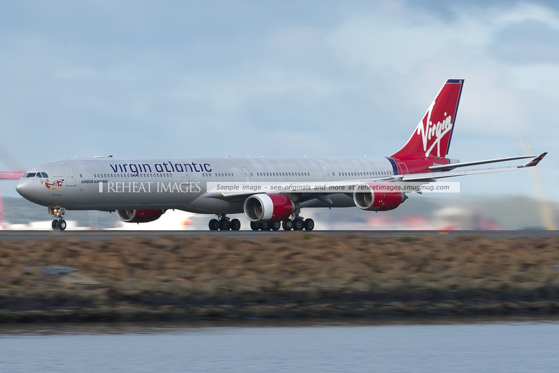 Virgin Atlantic Airbus A340-600 takes off from Sydney airport.