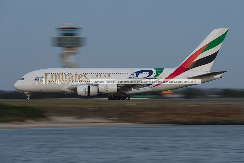 This Emirates A380-861 A6-EDN wears a special colour scheme for the Rugby World Cup 2011.