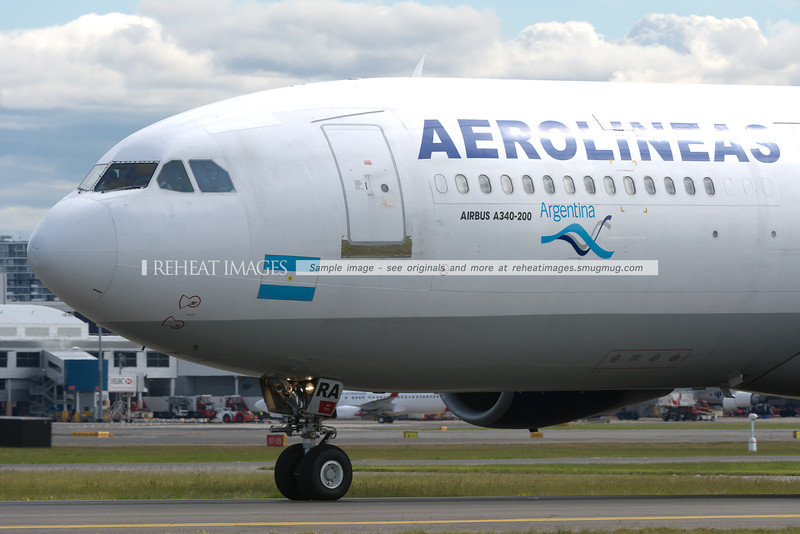 Aerolineas Argentinas A340-211 at Sydney airport. The plane was formerly of Philippine Airlines and Cathay Pacific in the pre-handover era of Hong Kong.