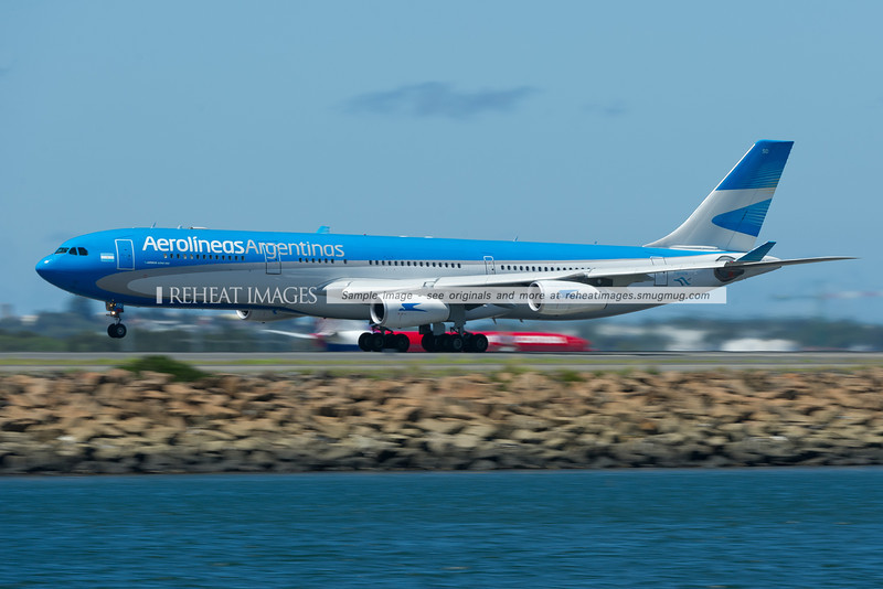 Aerolineas Argentinas A340-300 in the new colour scheme departs Sydney. LV-CSD is the registration.