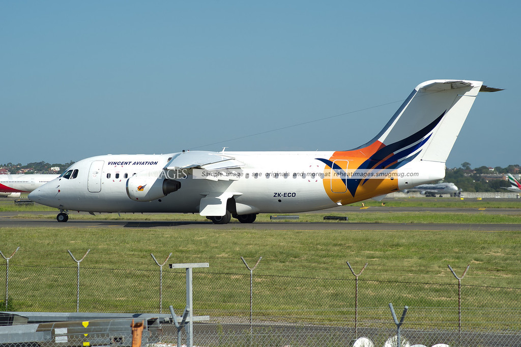Vincent Aviation BAE-146 heads out to runway 16L where it will leave Sydney airport.
