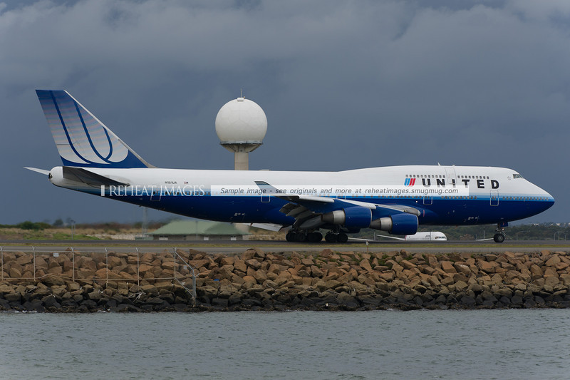 United Airlines, Boeing, B747, sydney, landing, Chris P Denton